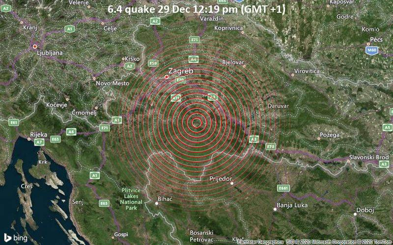 Epicenter area of today's devastating earthquake in Croatia