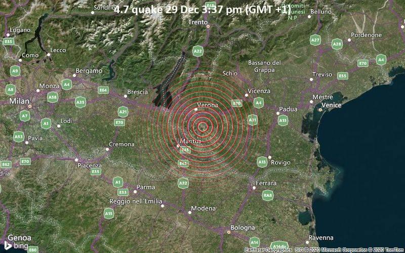 Erdbeben der Stärke 4.7 - 8.1 km südlich von San Giovanni Lupatoto, Provincia di Verona, Venetien, Italien, am Dienstag, 29. Dez 2020 um 15:37 Lokalzeit