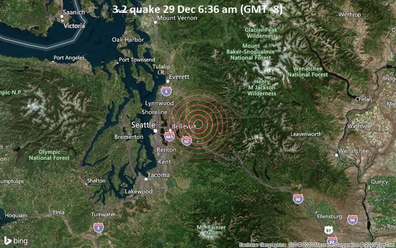 Erdbeben der Stärke 3.2 - 12 km östlich von Union Hill-Novelty Hill, King County, Washington, USA, am Dienstag, 29. Dez 2020 um 06:36 Lokalzeit