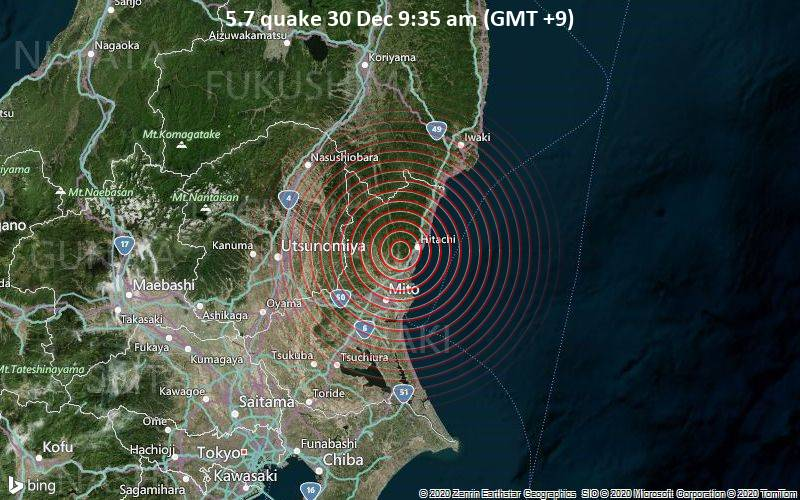 5.7 quake 30 Dec 9:35 am (GMT +9)
