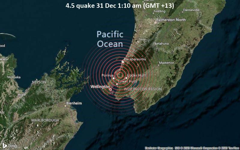 4.5 quake 31 Dec 1:10 am (GMT +13)