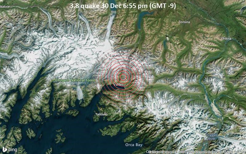 Erdbeben der Stärke 3.8 - 7.4 km nordöstlich von Valdez, Valdez-Cordova County, Alaska, USA, am Mittwoch, 30. Dez 2020 um 18:55 Lokalzeit