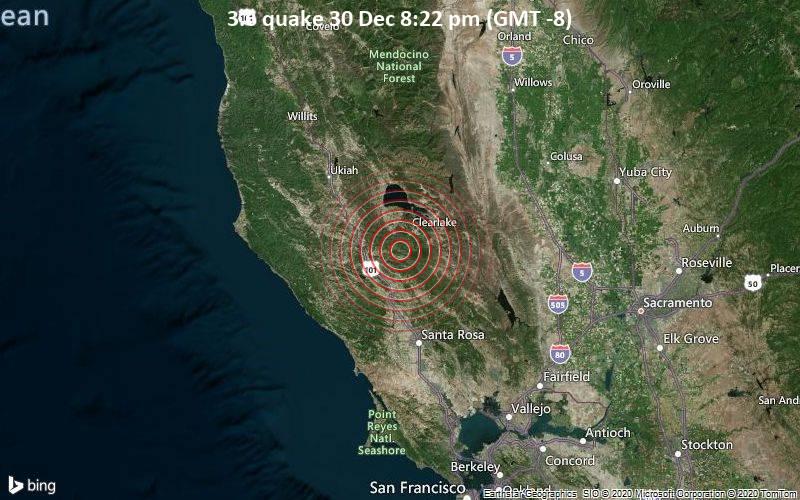 Erdbeben der Stärke 3.6 - Sonoma County, 8.8 km westlich von Cobb, Lake County, Kalifornien, USA, am Mittwoch, 30. Dez 2020 um 20:22 Lokalzeit