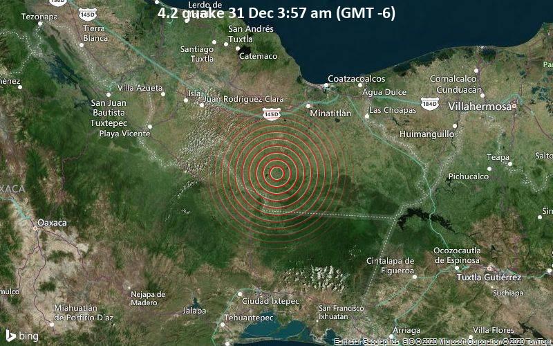 Erdbeben der Stärke 4.2 - 4.1 km östlich von El Zapotal, Hidalgotitlan, Veracruz, Mexiko, am Donnerstag, 31. Dez 2020 um 03:57 Lokalzeit