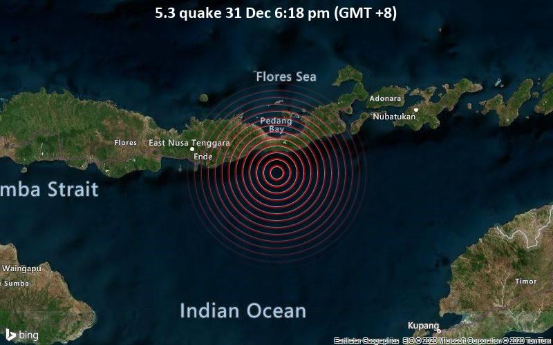Moderates Erdbeben der Stärke 5.3 - Savu Sea, 33 km südlich von Maumere, East Nusa Tenggara, Indonesien, am Donnerstag, 31. Dez 2020 um 18:18 Lokalzeit