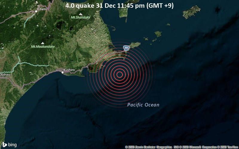Erdbeben der Stärke 4.0 - Nordpazifik, 42 km südlich von Nemuro, Nemuro-shi, Hokkaido, Japan, am Donnerstag, 31. Dez 2020 um 23:45 Lokalzeit