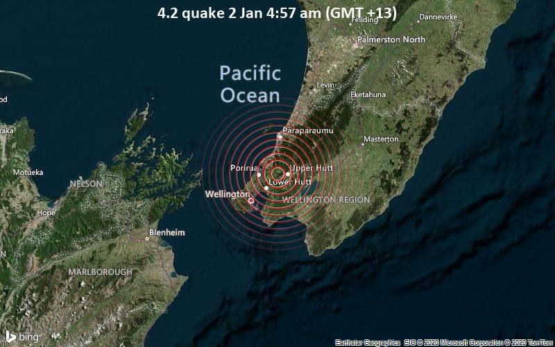 Leichtes Erdbeben Der Starke 4 2 Erschuttert Upper Hutt Upper Hutt City Wellington Neuseeland Volcanodiscovery