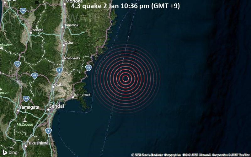 4.3 quake 2 Jan 10:36 pm (GMT +9)