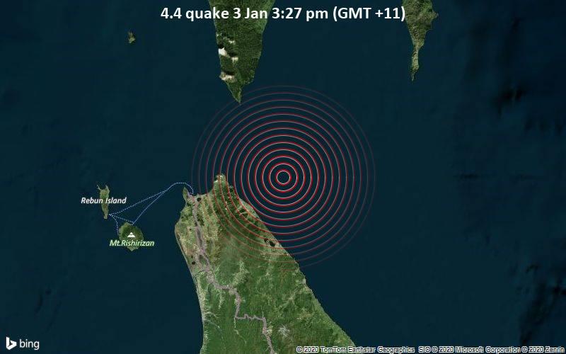 4.4 quake 3 Jan 3:27 pm (GMT +11)