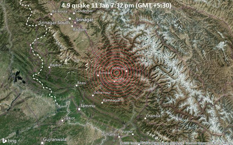 4.9 quake 11 Jan 7:32 pm (GMT +5:30)
