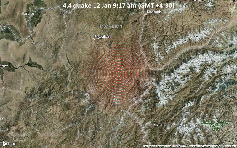 4.4 quake 12 Jan 9:17 am (GMT +4:30)