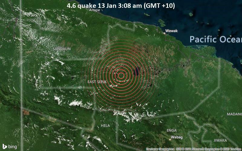 Erdbeben der Stärke 4.6 - 13 km südlich von Ambunti, Ambunti-Dreikikir, East Sepik Province, Papua-Neuguinea, am Mittwoch, 13. Jan 2021 um 03:08 Lokalzeit
