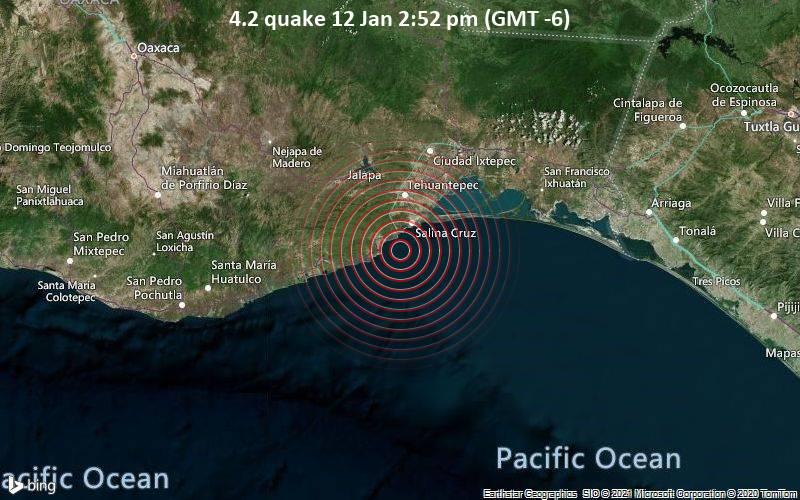 Erdbeben der Stärke 4.2 - Nordpazifik, 17 km südwestlich von Salina Cruz, Oaxaca, Mexiko, am Dienstag, 12. Jan 2021 um 14:52 Lokalzeit