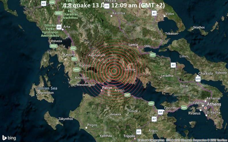 Erdbeben der Stärke 4.8 - 21 km nordöstlich von Nafpaktos, Aitoloakarnania, Westgriechenland, am Mittwoch, 13. Jan 2021 um 00:09 Lokalzeit