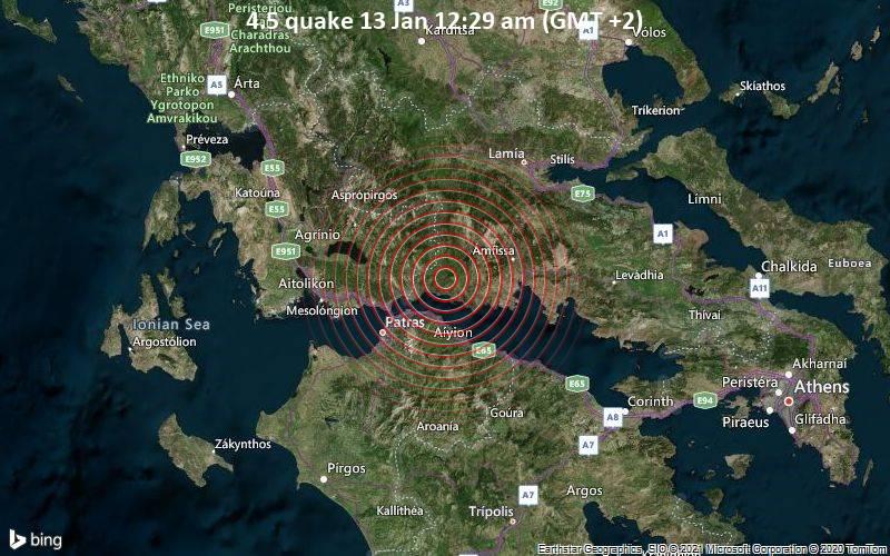 Erdbeben der Stärke 4.5 - 9.4 km nördlich von Glyfada, Phokis, Mittelgriechenland, am Mittwoch, 13. Jan 2021 um 00:29 Lokalzeit