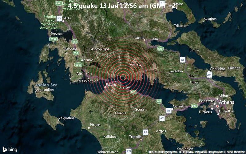 Erdbeben der Stärke 4.5 - Ionian Sea, 2.6 km westlich von Glyfada, Phokis, Mittelgriechenland, am Mittwoch, 13. Jan 2021 um 00:56 Lokalzeit