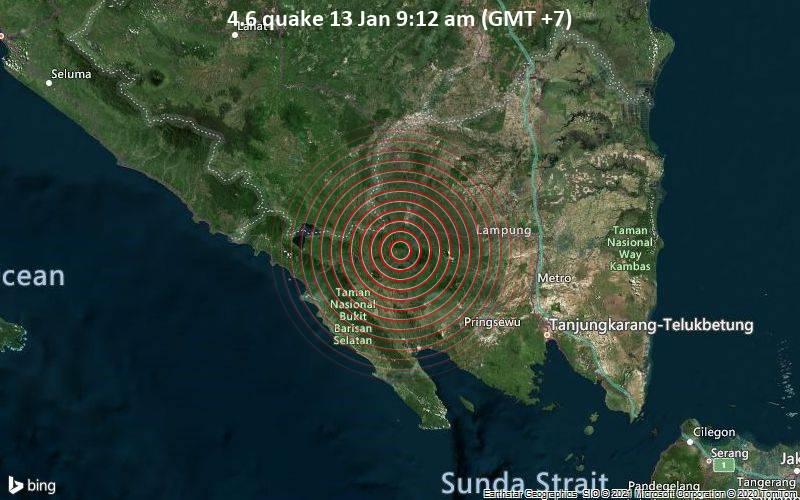 Erdbeben der Stärke 4.6 - 50 km westlich von Kotabumi, Lampung, Indonesien, am Mittwoch, 13. Jan 2021 um 09:12 Lokalzeit