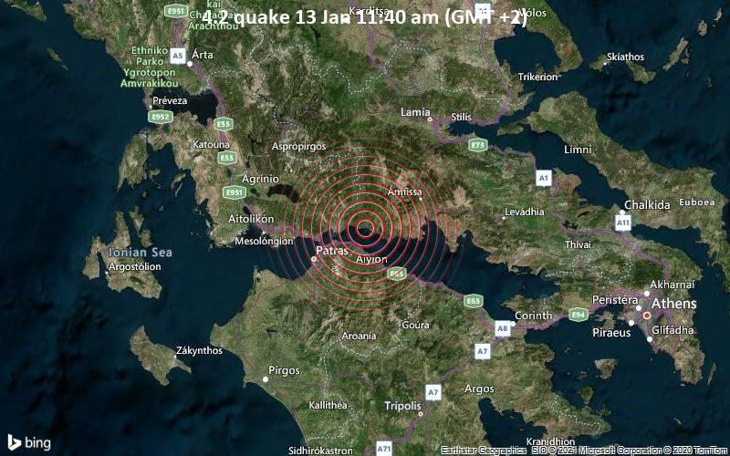 Erdbeben der Stärke 4.2 - Ionian Sea, 3.4 km westlich von Glyfada, Phokis, Mittelgriechenland, am Mittwoch, 13. Jan 2021 um 11:40 Lokalzeit