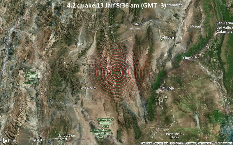 Erdbeben der Stärke 4.2 - 16 km westlich von Chilecito, Departamento de Chilecito, Provinz La Rioja, Argentinien, am Mittwoch, 13. Jan 2021 um 08:36 Lokalzeit