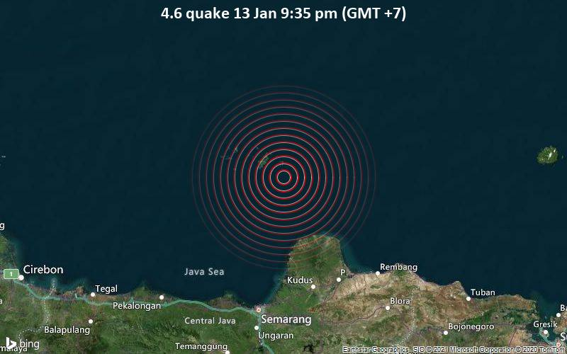 Erdbeben der Stärke 4.6 - Java Sea, 19 km südlich von Pulau Cendikian , Indonesien, am Mittwoch, 13. Jan 2021 um 21:35 Lokalzeit