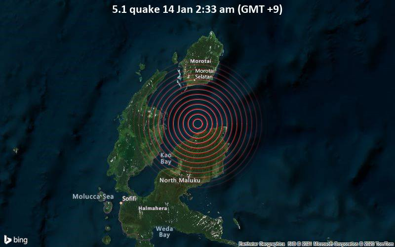 5.1 quake 14 Jan 2:33 am (GMT +9)