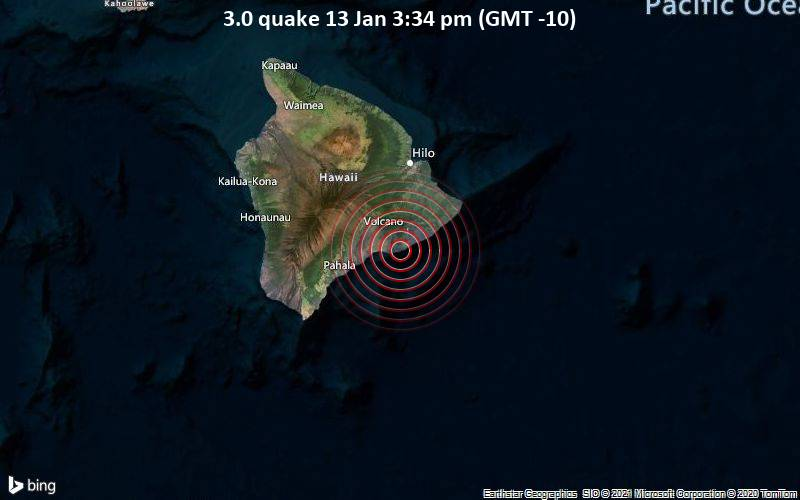 3.0 quake 13 Jan 3:34 pm (GMT -10)
