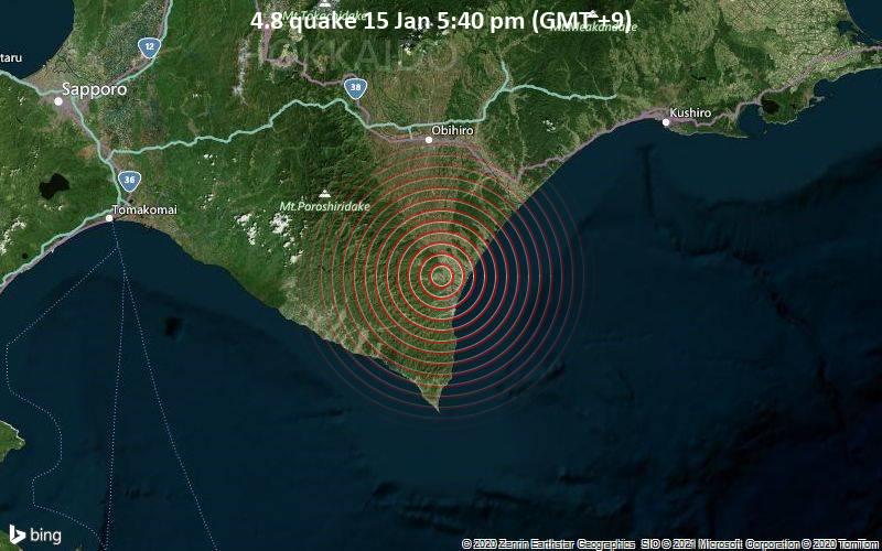 4.8 quake 15 Jan 5:40 pm (GMT +9)