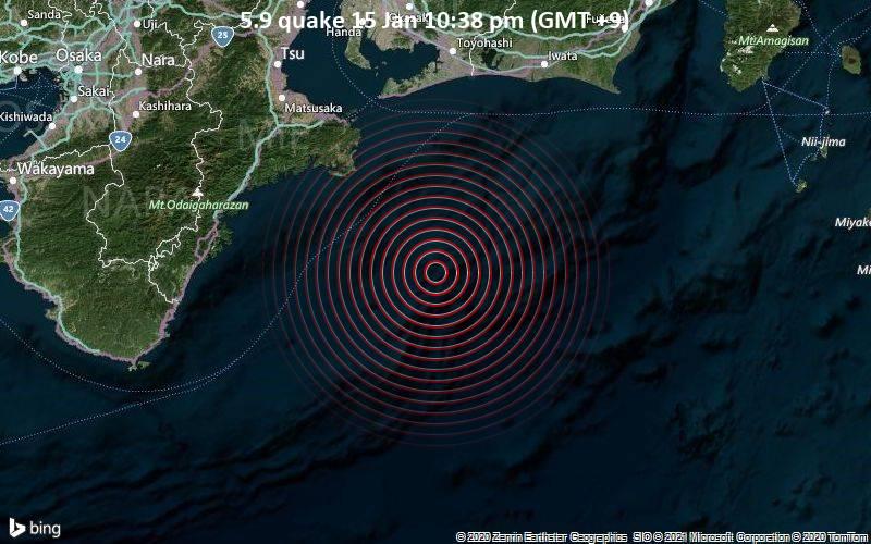 5.9 quake 15 Jan 10:38 pm (GMT +9)