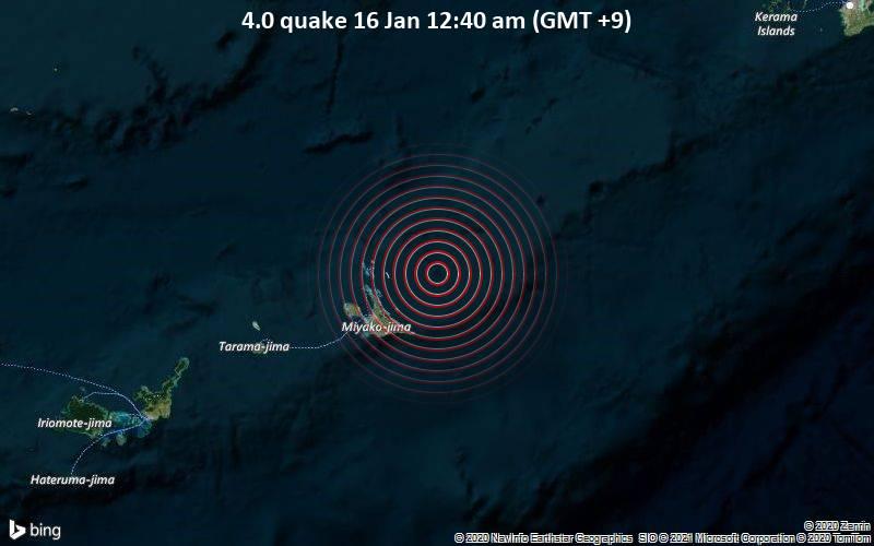 4.0 quake 16 Jan 12:40 am (GMT +9)