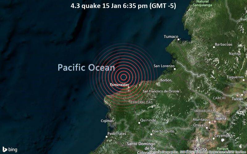 Quake Info Mag 4 3 Earthquake North Pacific Ocean 23 Km Northwest Of Volcan Chimborazo Canton Esmeraldas Provincia De Esmeraldas Ecuador On Friday 15 Jan 2021 6 35 Pm Gmt 5 Volcanodiscovery
