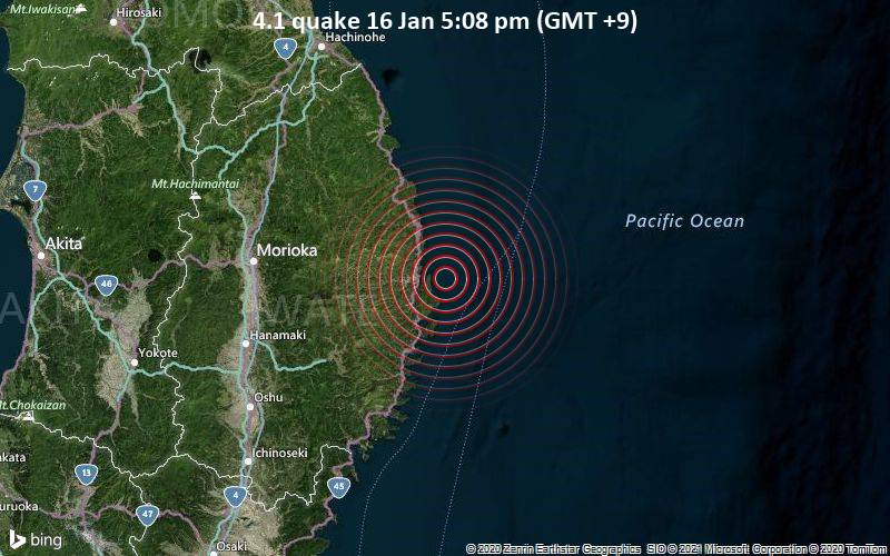 4.1 quake 16 Jan 5:08 pm (GMT +9)
