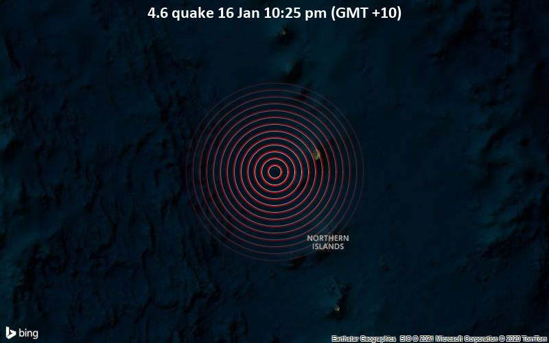 4.6 quake 16 Jan 10:25 pm (GMT +10)