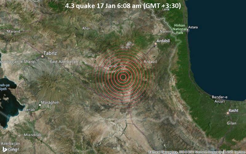 4.3 quake 17 Jan 6:08 am (GMT +3:30)