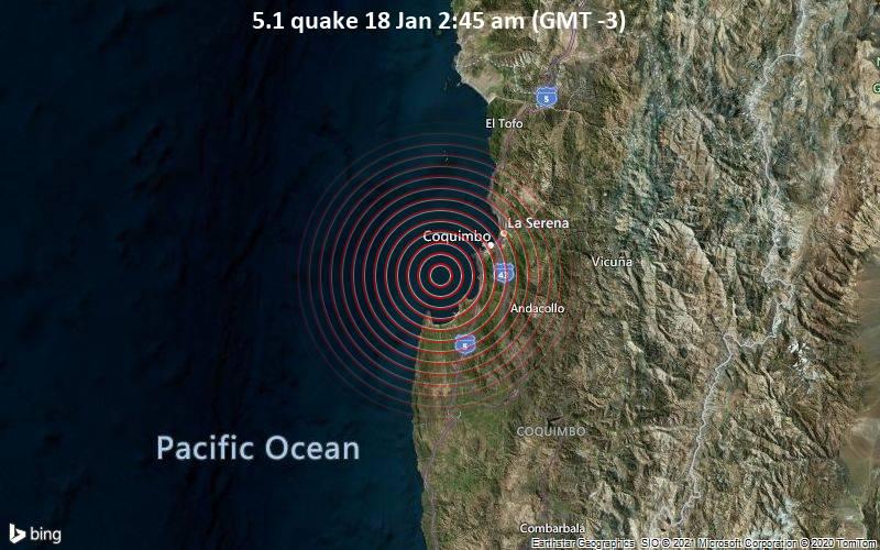 5.1 quake 18 Jan 2:45 am (GMT -3)