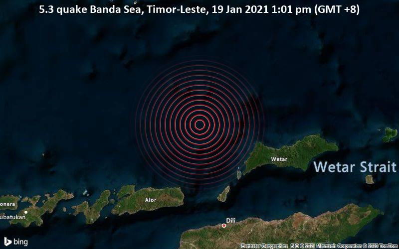 5.3 quake Banda Sea, Timor-Leste, 19 Jan 2021 1:01 pm (GMT +8)