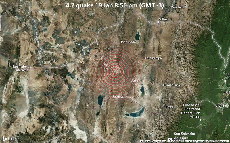 Erdbeben der Stärke 4.2 - Departamento de Susques, 80 km westlich von Abra Pampa, Departamento de Cochinoca, Jujuy, Argentinien, am Dienstag, 19. Jan 2021 um 20:56 Lokalzeit