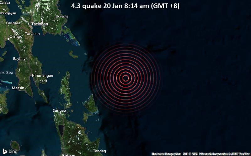 Erdbeben der Stärke 4.3 - Philippines Sea, 80 km nordöstlich von Kambiling , Philippinen, am Mittwoch, 20. Jan 2021 um 08:14 Lokalzeit