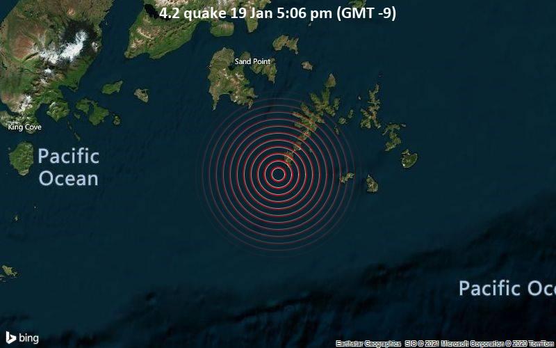 Erdbeben der Stärke 4.2 - Gulf of Alaska, 38 km südlich von Shumagin s , Aleutians East County, Alaska, USA, am Dienstag, 19. Jan 2021 um 17:06 Lokalzeit