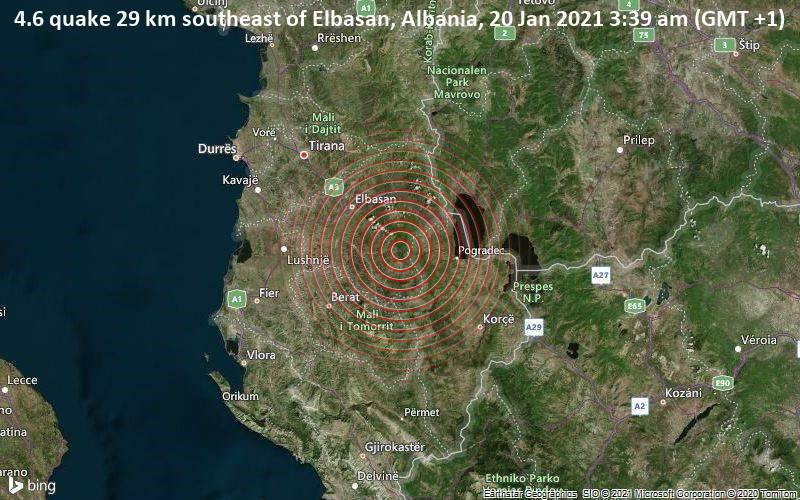 Erdbeben der Stärke 4.6 - 29 km südöstlich von Elbasan, Albanien, am Mittwoch, 20. Jan 2021 um 03:39 Lokalzeit