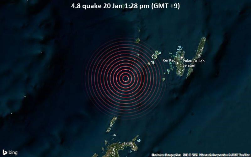 Erdbeben der Stärke 4.8 - Banda Sea, 115 km westlich von Tual, Maluku, Indonesien, am Mittwoch, 20. Jan 2021 um 13:28 Lokalzeit