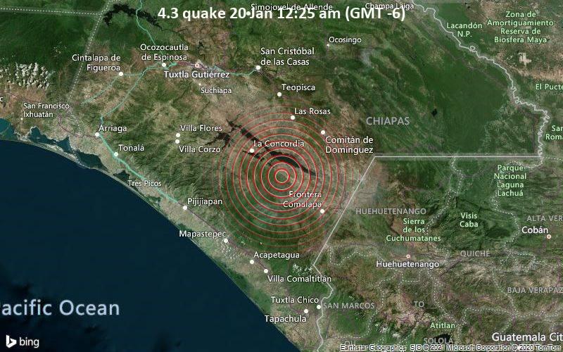 Erdbeben der Stärke 4.3 - La Concordia, 49 km südwestlich von Comitan, Chiapas, Mexiko, am Mittwoch, 20. Jan 2021 um 00:25 Lokalzeit