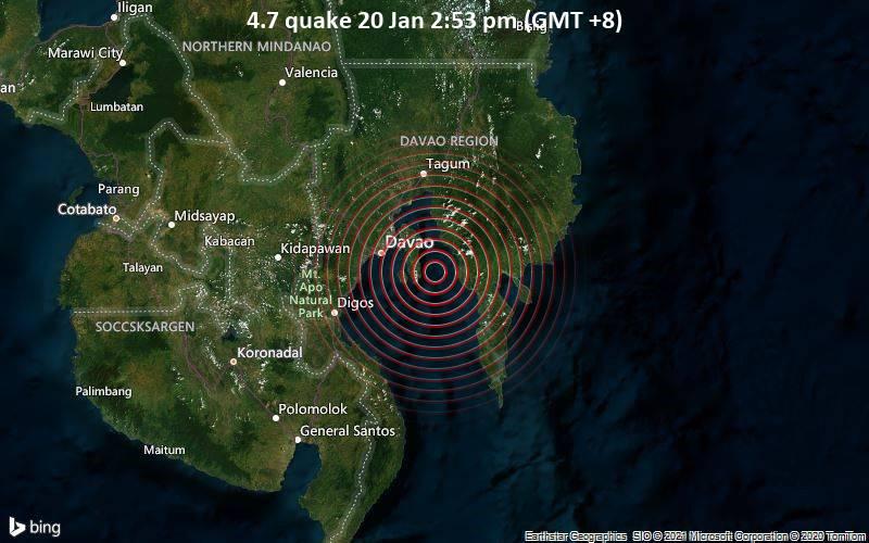 Erdbeben der Stärke 4.7 - Philippines Sea, 18 km westlich von Lupon, Philippinen, am Mittwoch, 20. Jan 2021 um 14:53 Lokalzeit