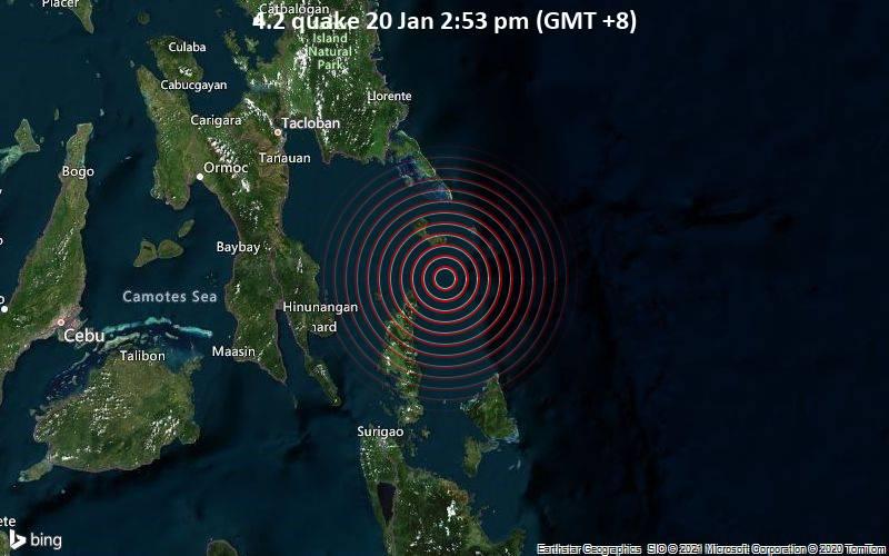 Erdbeben der Stärke 4.2 - Philippines Sea, Philippinen, 32 km nordöstlich von Loreto, Caraga, am Mittwoch, 20. Jan 2021 um 14:53 Lokalzeit