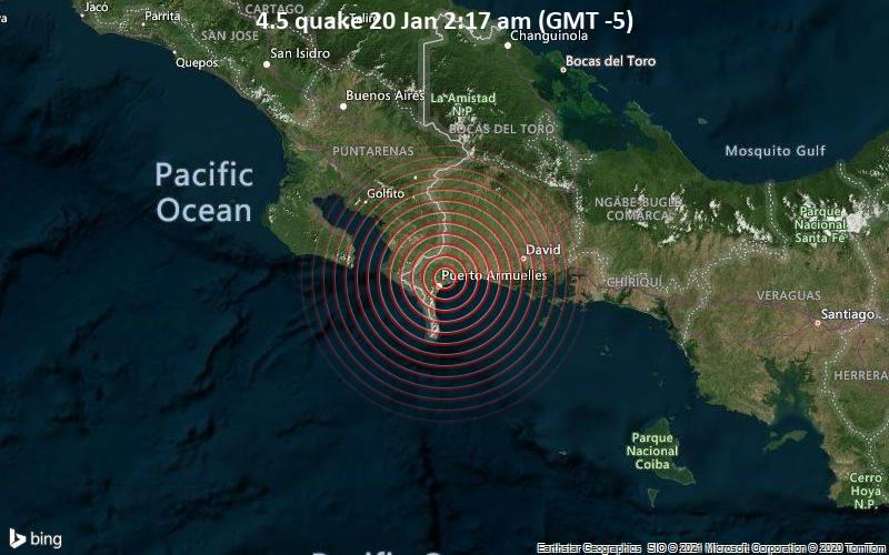 Erdbeben der Stärke 4.5 - 1.7 km westlich von Manaca Civil, Provincia de Chiriqui, Panama, am Mittwoch, 20. Jan 2021 um 02:17 Lokalzeit