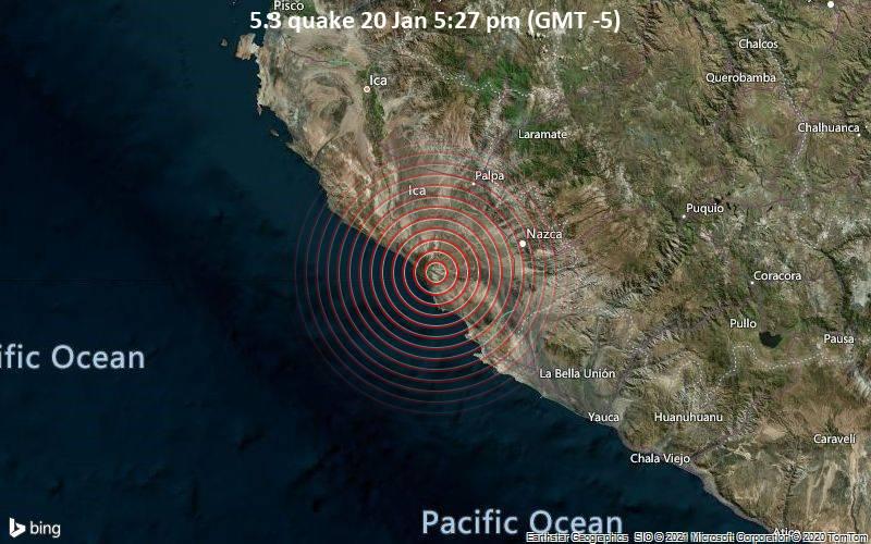 Moderates Erdbeben der Stärke 5.3 - 40 km nordwestlich von Minas de Marcona, Provincia de Nazca, Ica, Peru, am Mittwoch, 20. Jan 2021 um 17:27 Lokalzeit