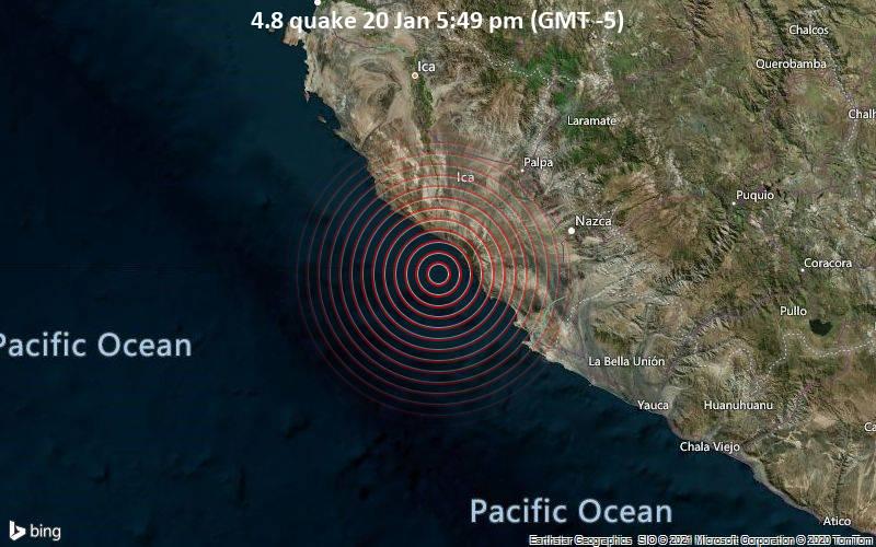 Erdbeben der Stärke 4.8 - South Pacific Ocean, 58 km westlich von Minas de Marcona, Peru, am Mittwoch, 20. Jan 2021 um 17:49 Lokalzeit