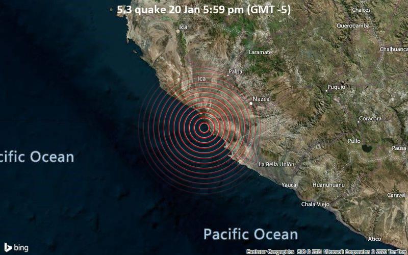 Moderates Erdbeben der Stärke 5.3 - South Pacific Ocean, 40 km nordwestlich von Minas de Marcona, Peru, am Mittwoch, 20. Jan 2021 um 17:59 Lokalzeit