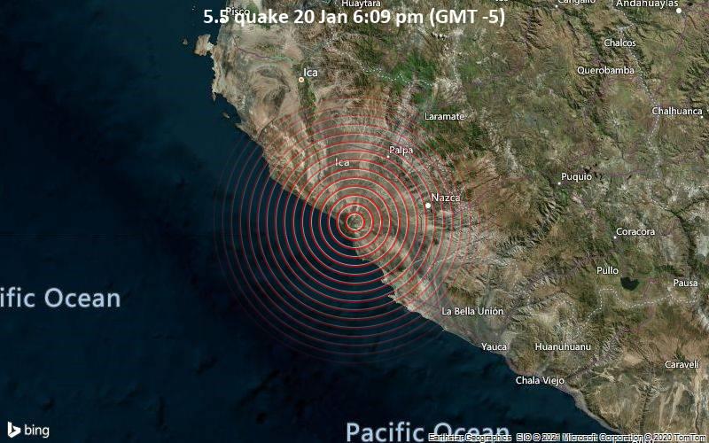 Moderates Erdbeben der Stärke 5.5 - 45 km nordwestlich von Minas de Marcona, Provincia de Nazca, Ica, Peru, am Mittwoch, 20. Jan 2021 um 18:09 Lokalzeit