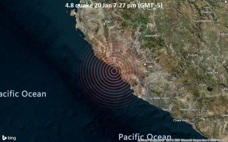 4.8 quake 20 Jan 7:27 pm (GMT -5)