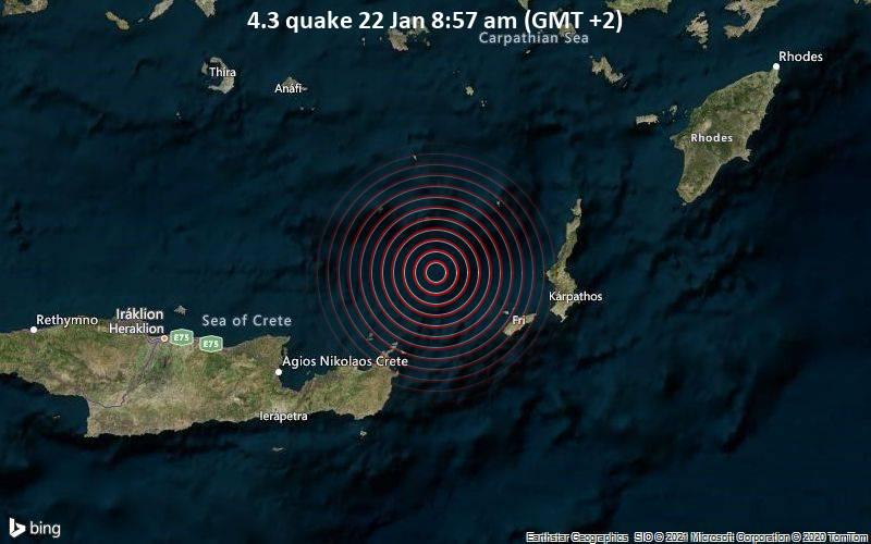 4.3 quake 22 Jan 8:57 am (GMT +2)